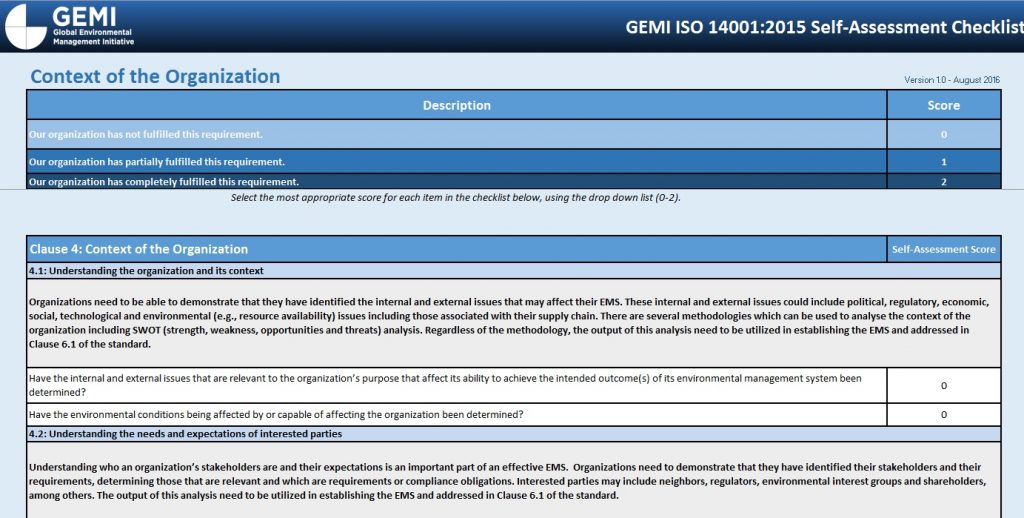 GEMI ISO 14001:2015 Self-Assessment Checklist - GEMI